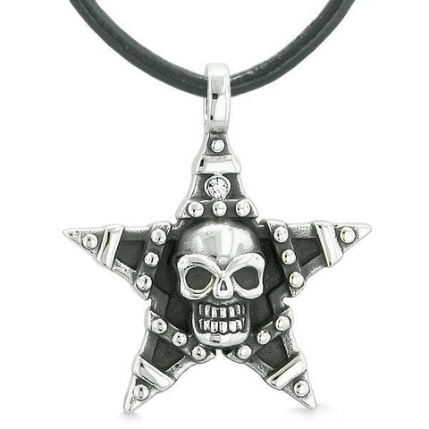 All Seeing Skull Magic Super Star Pentacle Powers Amulet White Austrian Crystal Pendant Necklace