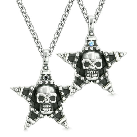 All Seeing Skull Star Pentacle Love Couples or Best Friends Blue Black Crystals Amulet Necklaces