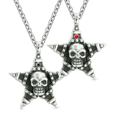 All Seeing Skull Star Pentacle Love Couples or Best Friends Red Black Crystals Amulet Necklaces