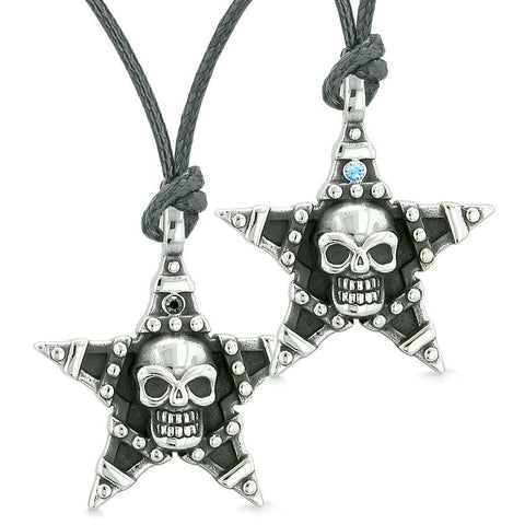 All Seeing Skull Star Pentacle Love Couples Best Friends Blue Black Crystals Adjustable Necklaces