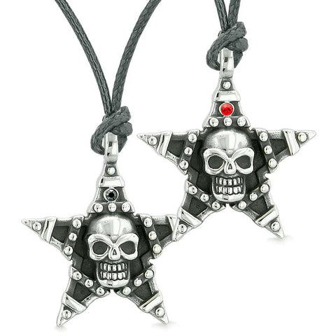 All Seeing Skull Super Star Pentacle Love Couples Best Friends Black Red Crystals Necklaces