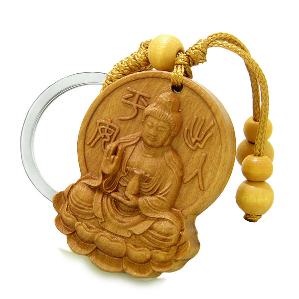 Amulet Blooming Lotus and Kwan Yin Quan Magical Powers Charms Feng Shui Symbols Keychain Blessing