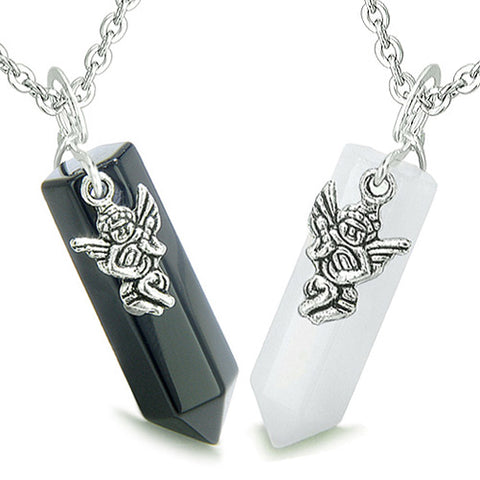 Amulets Balance Energy Love Couple Best Friends Angels Crystal Points Jade Onyx Pendants Necklaces