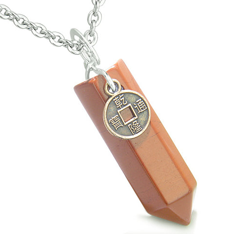 Amulet Lucky Charm Coin Crystal Point Red Jasper Gemstone Believe Positive Energy Pendant Necklace