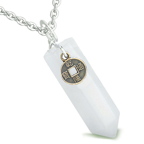 Amulet Lucky Charm Coin Crystal Point Jade Evil Eye Protection Positive Energy Pendant Necklace