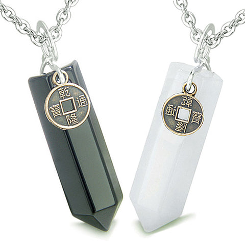 Amulets Energy Love Couples Best Friends Lucky Coin Crystal Points Jade Onyx Pendants Necklaces