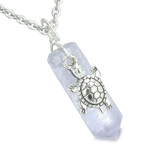 Amulet Turtle Lucky Charm Crystal Point Light Brazilian Amethyst Good Luck Energy Pendant Necklace