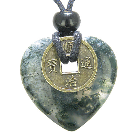 Antique Lucky Coin Good Luck Powers Amulet Green Moss Agate 30mm Heart Donut Pendant Necklace