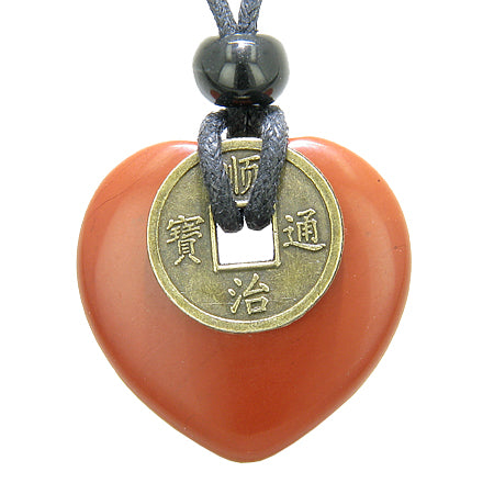 Antique Lucky Coin Believe Powers Amulet Red Jasper Gemstone 30mm Heart Donut Pendant Necklace