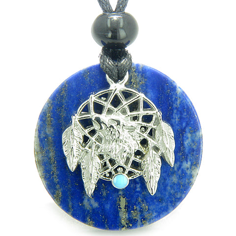 Amulet Howling Wolf Dream Catcher Medallion Magic Lapis Lazuli Magic ProtectiPendant Necklace