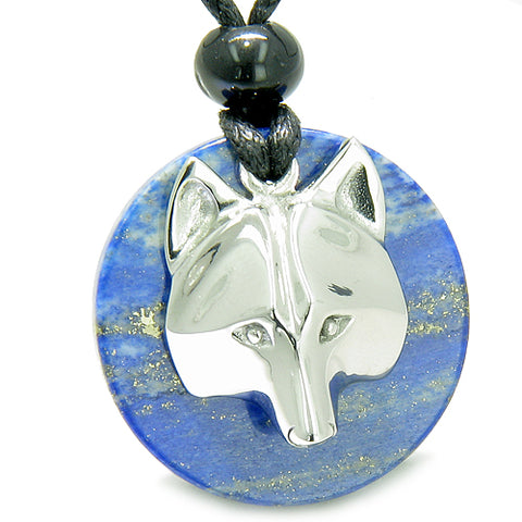 Amulet Courage Wolf Mask MedalliMagic Circle Lapis Lazuli Magic ProtectiPendant Necklace