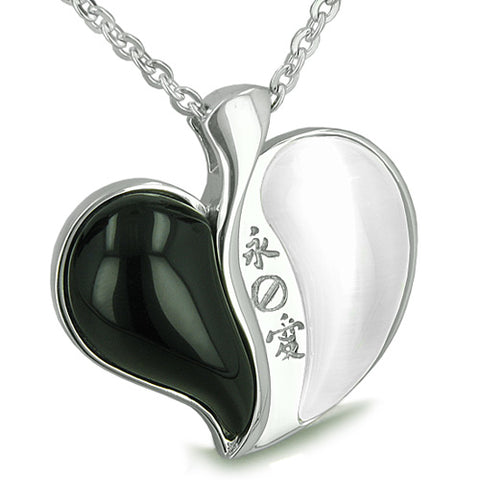 Amulet Love Forever Kanji Magic Heart Yin Yang Double Lucky Onyx Cats Eye Gems Pendant Necklace