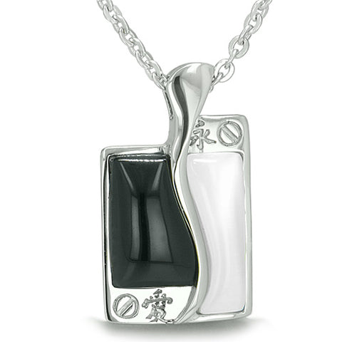 Amulet Love Forever Kanji Magic Tag Yin Yang Double Lucky Balance Onyx Cats Eye Pendant Necklace