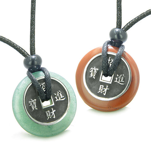 Amulets Love Couples Best Friends Lucky Coins Jasper Aventurine Donuts Yin Yang Pendants Necklaces