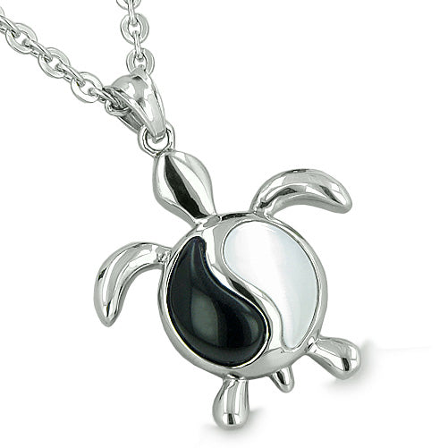 Amulets Yin Yang Turtles Balance Energy Love Couple Best Friends Onyx Cats Eye Pendants Necklaces