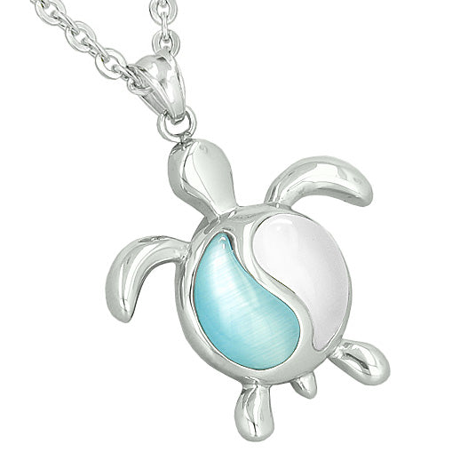 Amulets Yin Yang Turtles Couples Best Friends White Aqua Blue Candy Pink Cats Eye Pendant Necklaces
