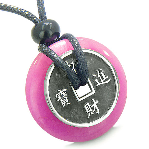 Amulet Lucky Coin Charm Donut Hot Pink Jade ProtectiAntiqued Pendant Necklace