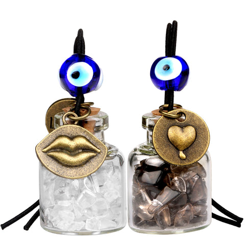 Caring Heart Magic Lips Love Couples Small Car Charms Home Decor Bottles Smoky Rock Quartz Amulets