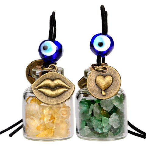 Caring Heart Magic Lips Love Couples Car Charms Home Decor Bottles Citrine Green Quartz Amulets