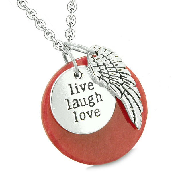 Guardian Angel Wing Live Laugh Love Inspirational Amulets Couples Set Pink and Green Quartz Necklaces