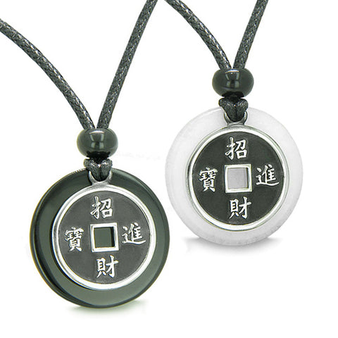 Amulets Love Couples Best Friends Lucky Coins Onyx Jade Medallions Yin Yang Pendants Necklaces