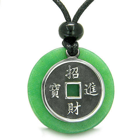 Amulet Lucky Coin Charm MedalliJade Protection Powers Antiqued Pendant ecklace