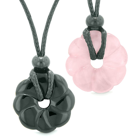 Magic Lotus Flower Lucky 30mm Donut Amulets Black Agate Rose Quartz Love Couples Best Friends Necklaces