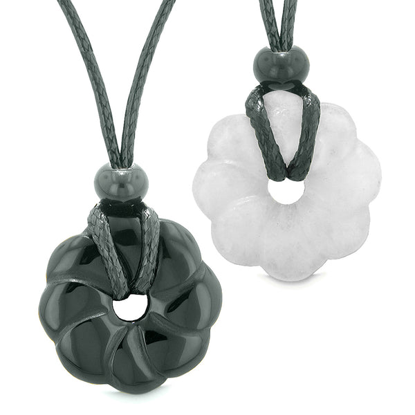 Magic Lotus Flower Lucky 30mm Donut Amulets Black Agate White Quartz Love Couples Best Friends Necklaces