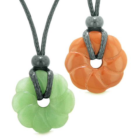 Magic Lotus Flower Lucky 30mm Donut Amulets Green Quartz Red Jasper Love Couples Best Friends Necklaces