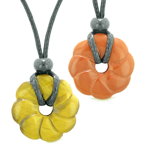 Magic Lotus Flower Lucky 30mm Donut Amulets Tiger Eye Red Jasper Love Couples Best Friends Necklaces