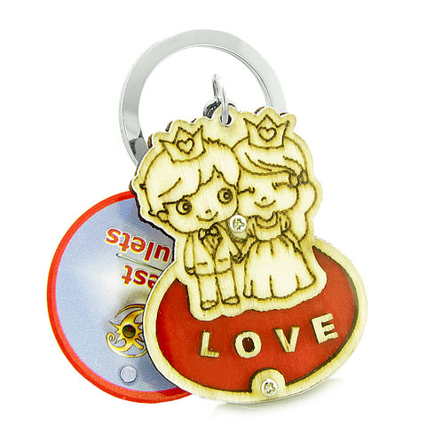 Cute Prince Princess Protection Powers Love Couples Best Friends Wooden Keychain Amulet Blessings