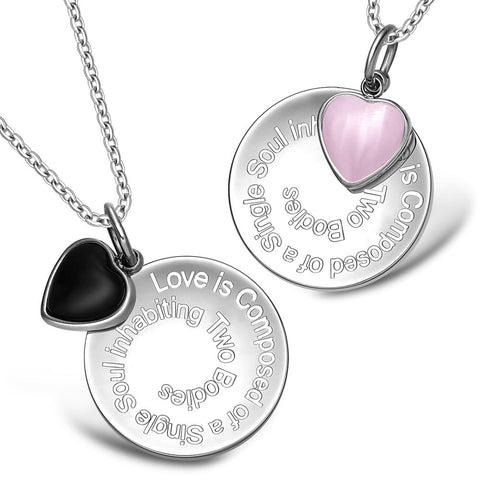 Love is Composed of a Single Soul Inspirational Heart Love Couples Set Necklaces