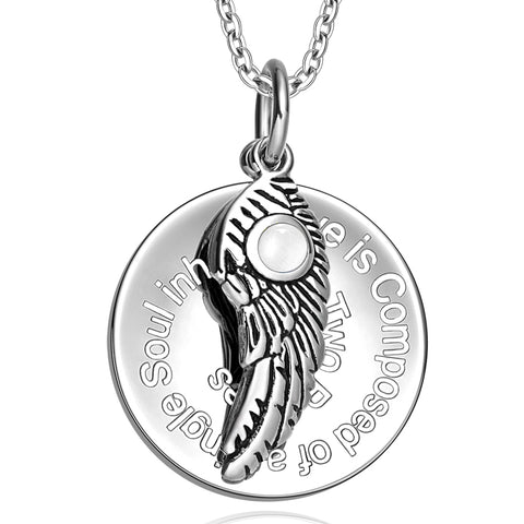 Love is Composed of a Single Soul Inspirational Pendant Angel Wing Amulet Necklace