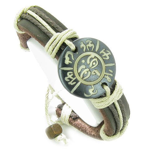 Amulet Genuine Leather Adjustable Bracelet with All Seeing Eye of Buddha OM Mantra Lucky Charm