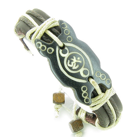 Amulet Genuine Leather Adjustable Bracelet with Magic Ancient OM Symbol Natural Bone Lucky Charm
