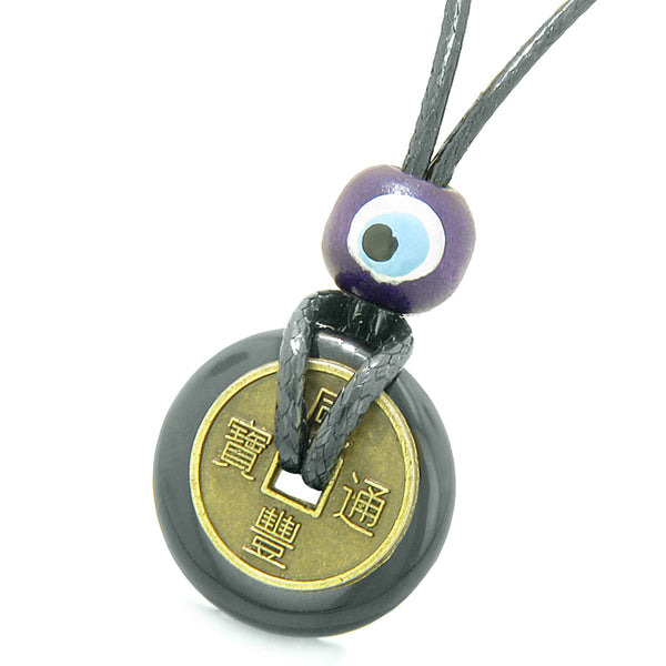 Small Tiny Lucky Coin Donut Amulets Black Agate White Quartz Love Couples or Best Friends Necklaces