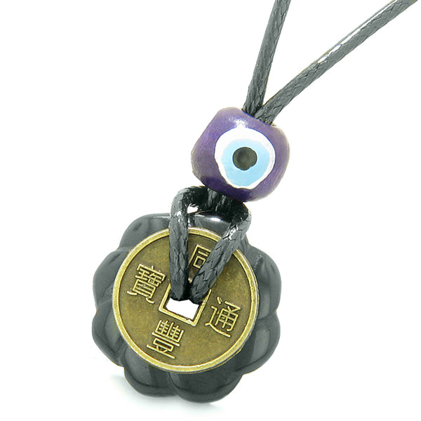 Small Tiny Antiqued Style Lucky Coin Lotus Flower Shape Donut Amulet Black Agate Magic Pendant Necklace