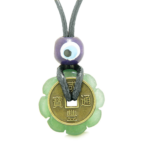 Small Tiny Antiqued Style Lucky Coin Lotus Flower Shape Donut Amulet Green Quartz Magic Pendant Necklace