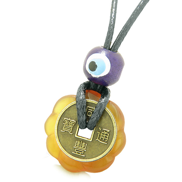 Small Tiny Antiqued Style Lucky Coin Lotus Flower Shape Donut Amulet Carnelian Magic Pendant Necklace