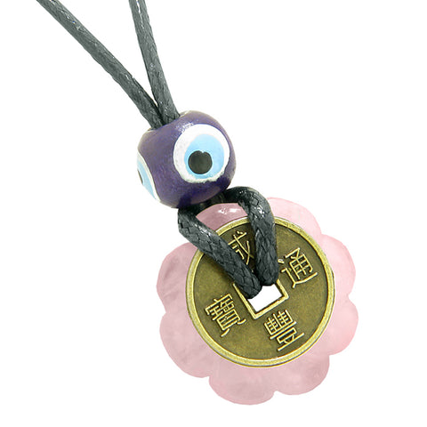 Small Tiny Antiqued Style Lucky Coin Lotus Flower Shape Donut Amulet Rose Quartz Magic Pendant Necklace