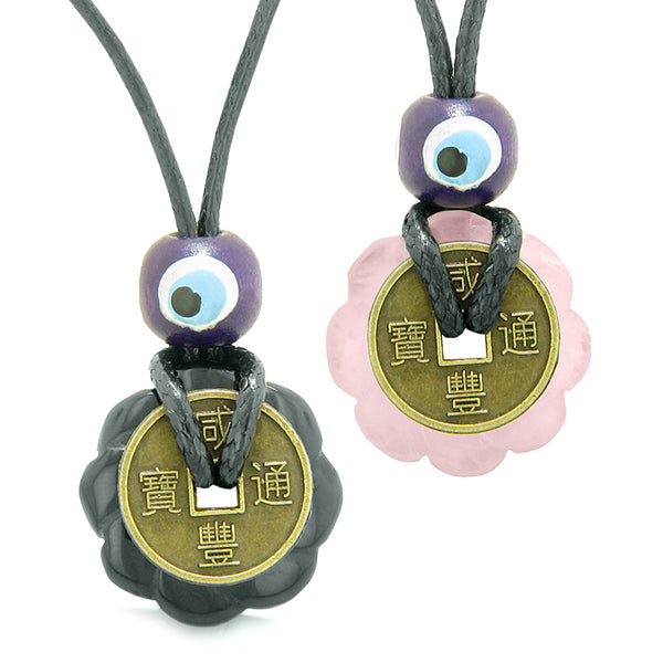Small Tiny Lucky Coin Lotus Flower Donut Amulets Black Agate Rose Quartz Love Couples Necklaces