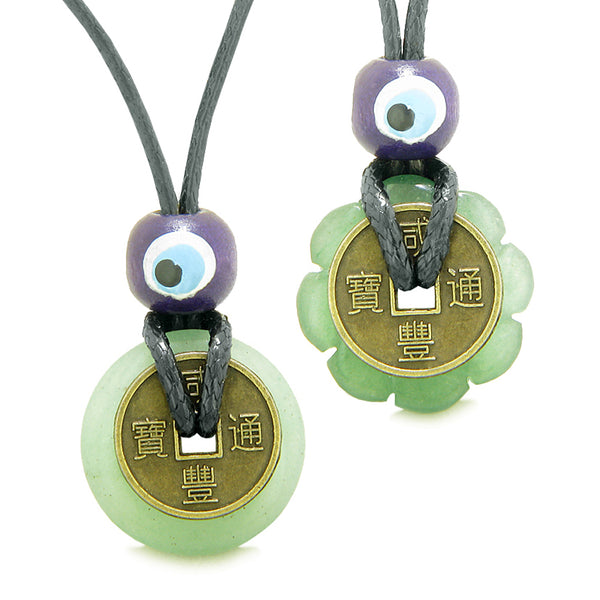 Small Tiny Lucky Coin and Lotus Flower Donut Amulets Green Quartz Spiritual Powers Love Copules Necklaces