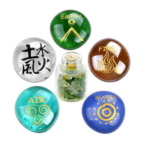 All Powers of Life Kanji Earth Water Fire Air Inspirational Amulets Glass Stones Moss Agate Set