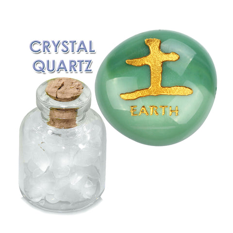 All Powers of Life Kanji Air Earth Water Fire Inspirational Amulets Glass Stone Quartz Bottle Set