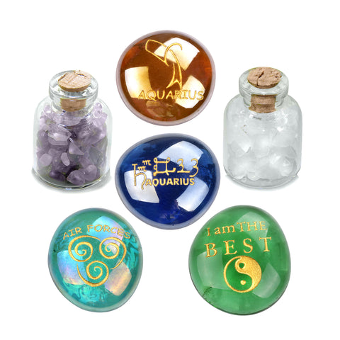 Ancient Zodiac Aquarius Yin Yang Powers Birthstones Amethyst Quartz Magical Glass Stones Bottles
