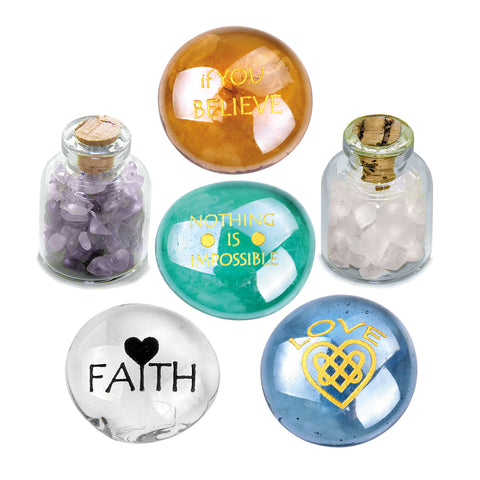 Believe Love Faith MotivatiInspirational Amulets Glass Stones Amethyst Rose Quartz Bottles Set