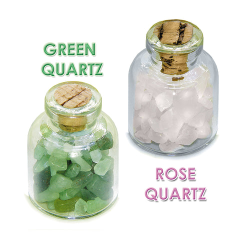 Heart Chakra Magic Positive Healing Inspirational Amulets Glass Stones Green Rose Quartz Bottles