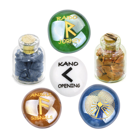 Ancient Runes Journey Raido Kano Ansuz Focus Inspirational Amulets Glass Stones Goldstone Bottles