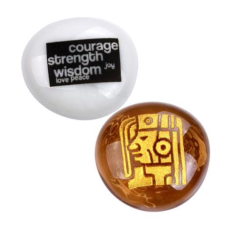 Mayan Magical Kingdom Courage Joy Love Wisdom Good Luck Focus Inspirational Amulets Glass Stones