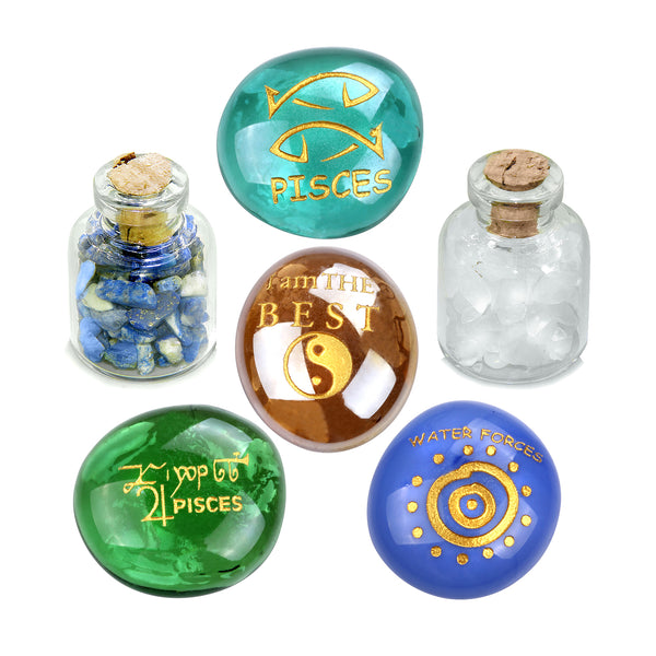 Ancient Zodiac Pisces Yin Yang Powers Birthstones Lapis Lazuli Quartz Magical Glass Stones Bottles